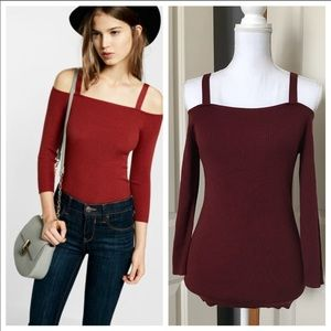 Express NWT Cold Shoulder Red Top